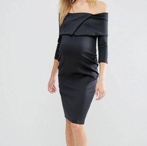 ASOS MATERNITY pleated scuba bardot dress